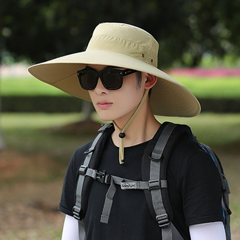 2019 New Men Solid Bucket Hat Large Wide Brim Military Hats Chin Strap Fishing Cap Jungle Hunting Caps Sun Protection A1