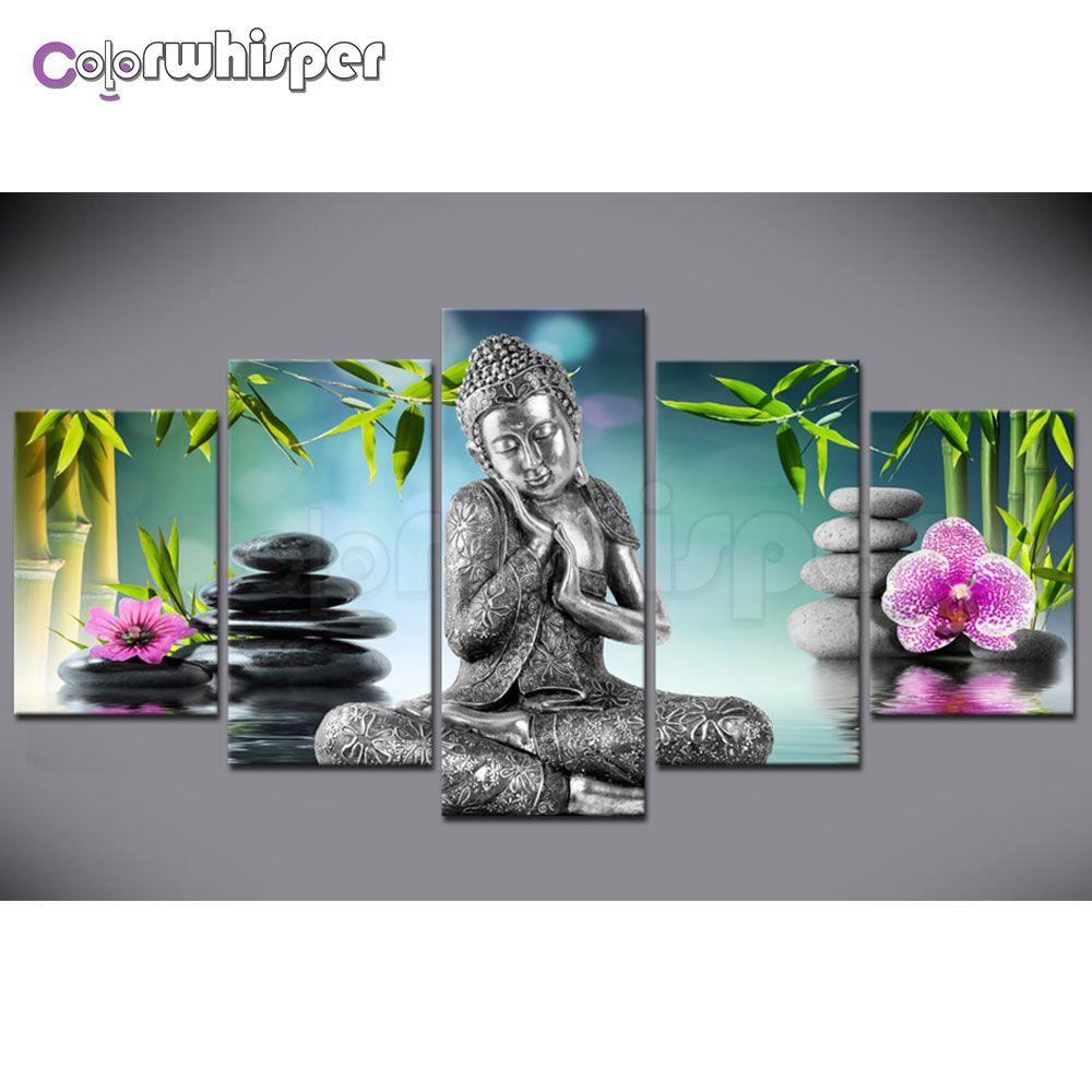 Diamond Painting Full Square/ Round Drill 5D Daimond Painting 5 Piece of Buddha Zen Bamboo Water Mosaic Cross Stitch Crystal 822