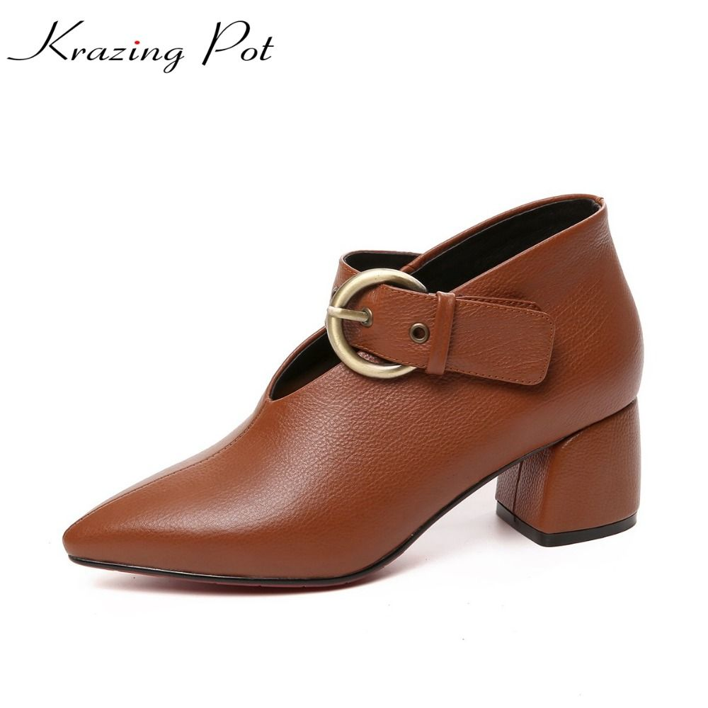 KRAZING POT new vintage cow leather original design brand high heels women pumps pointed toe autumn winter office lady shoes L27