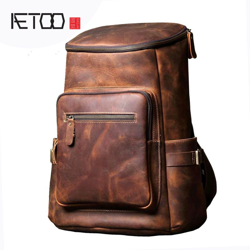 AETOO Handmade leather shoulder bag original import first layer cowhide backpack men and women mountaineering bag travel bag