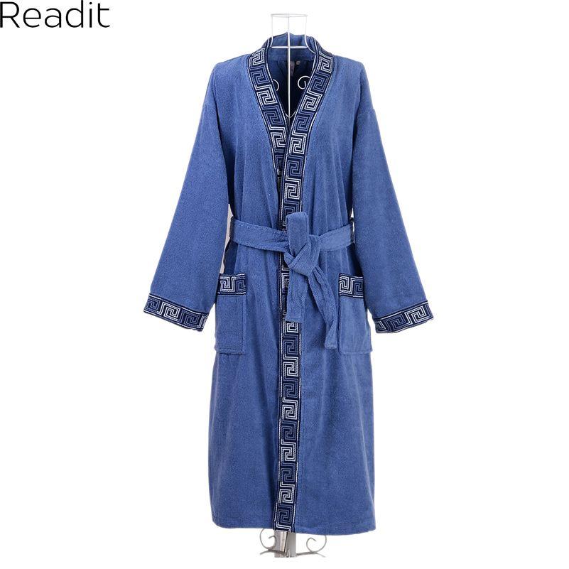 Мужские халаты Мужской плюс размер 100% хлопок махровые халаты toweled халат мужские пижамы с длинным мужской халат кимоно PA1858