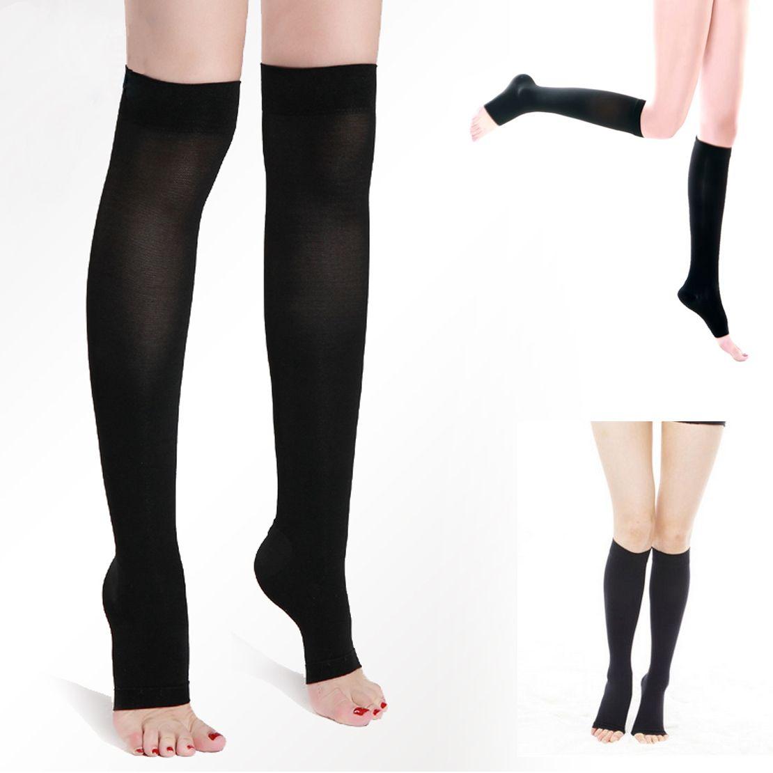 1 Para Neue Frauen Acrylon Knee High Compression Dünne Dünne Bein 30-40 mmhg Unterstützt Offene spitze Krampfadern gestaltung Strümpfe