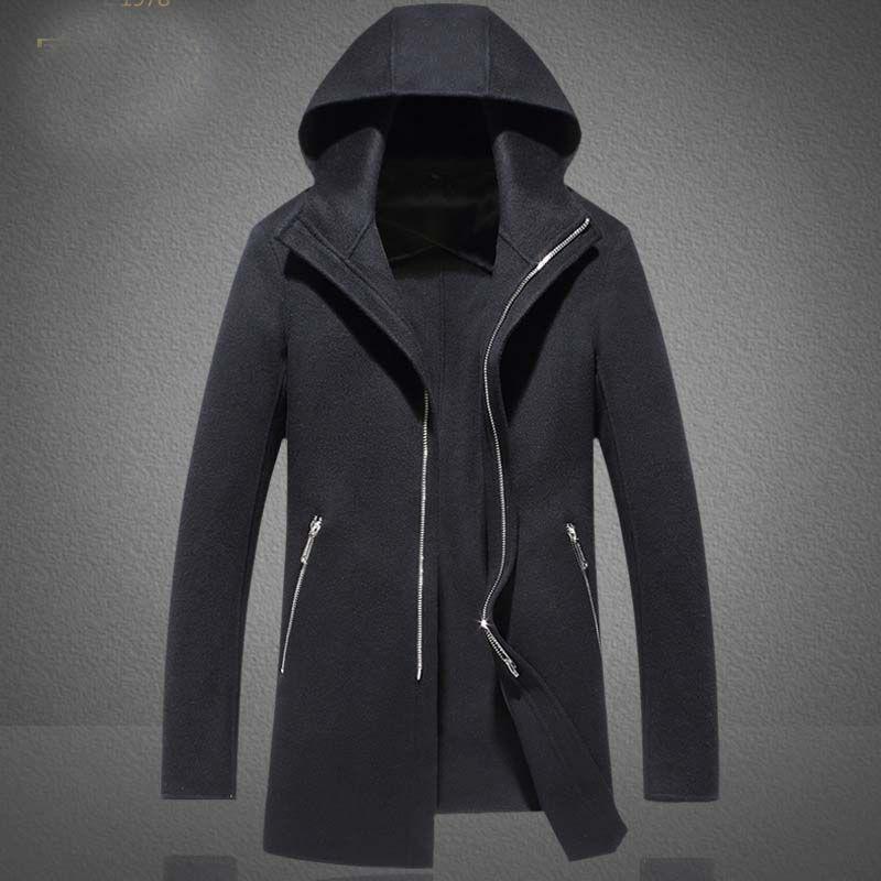 Winter Jacket Long Section of The Hooded Cloak Cape Cardigan Hoodie Jacket Men Black Coat