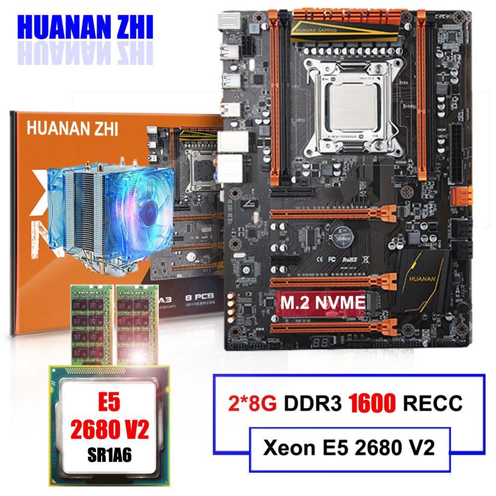M.2 motherboard auf verkauf HUANAN ZHI DELUXE X79 LGA2011 motherboard mit CPU Intel Xeon E5 2680 V2 mit kühler RAM 16G (2*8G) RECC