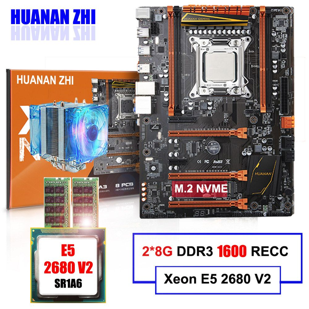 M.2 motherboard on sale HUANAN ZHI DELUXE X79 LGA2011 motherboard with CPU Intel Xeon E5 2680 V2 with cooler RAM 16G(2*8G) RECC