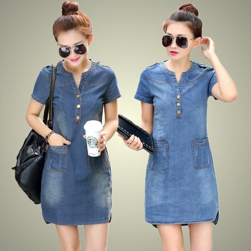 Hot sale 2017 new summer denim dress women <font><b>loose</b></font> fashion jean dress lady slim short sleeve plus size TY5071