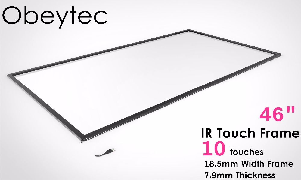 Obeytec 46-inch Infrared Touch Screen Frame, 10 Touch points, Driver free for Windows/ Adnroid/ Linux, Frame Only