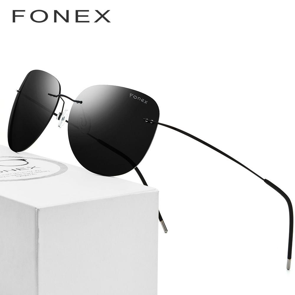 Polarized Rimless Sunglasses Men Ultralight oculos de sol feminino Hot Screwless Frameless Titanium Alloy Sun Glasses for Women