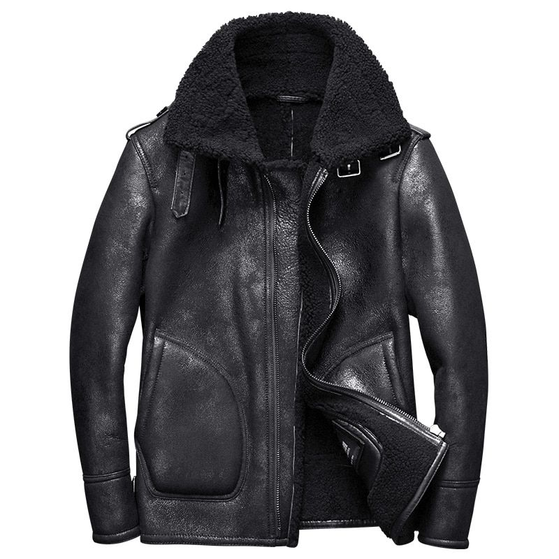 2017 new luxury men's genuine sheepskin leather shearing wool coat pilot bomber jacket for male winter clothing black xxl -30