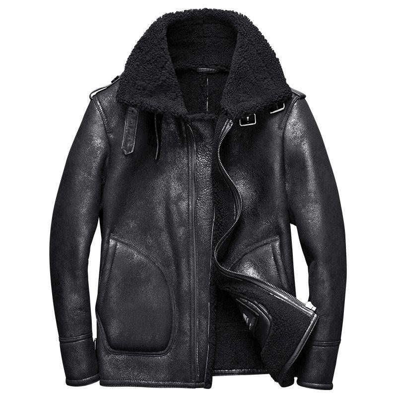 2017 new luxury men's genuine sheepskin leather shearing wool coat pilot bomber jacket for male winter clothing black xxl -30
