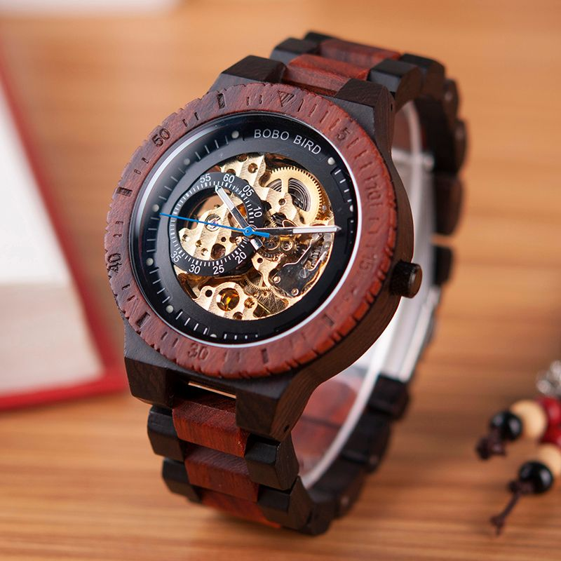 BOBO BIRD Wooden Watches Men Automatic Mechanical Wristwatch Waterproof Male forsining in Gift Wood Box masculino watch