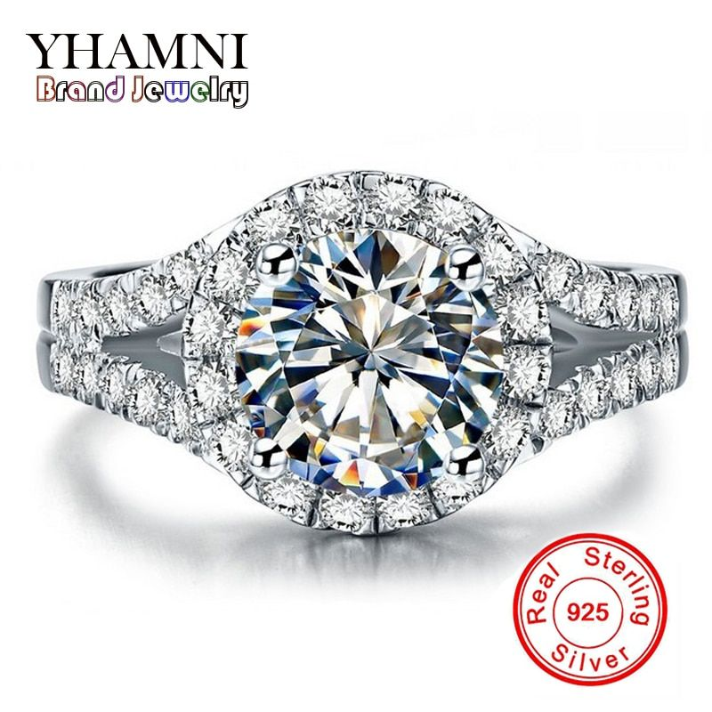 Promotion!!! Real Solid 925 Silver Wedding Rings Jewelry for Women 2 Carat Sona CZ Diamant Engagement Rings Accessories BKJZ025