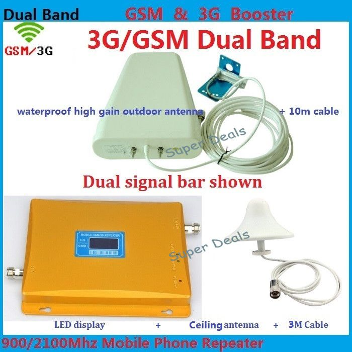 LCD Display 3G W-CDMA 2100MHz + 2G GSM 900Mhz Dual Band lte Mobile Phone Signal Booster , Cell Phone Signal Repeater