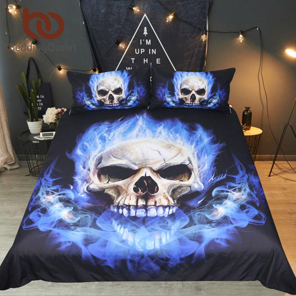 BeddingOutlet Flame Skull Bedding Set King 3D Printed Duvet Cover Blue Fire Bedclothes 3pcs Fashion Home Textiles For Boys
