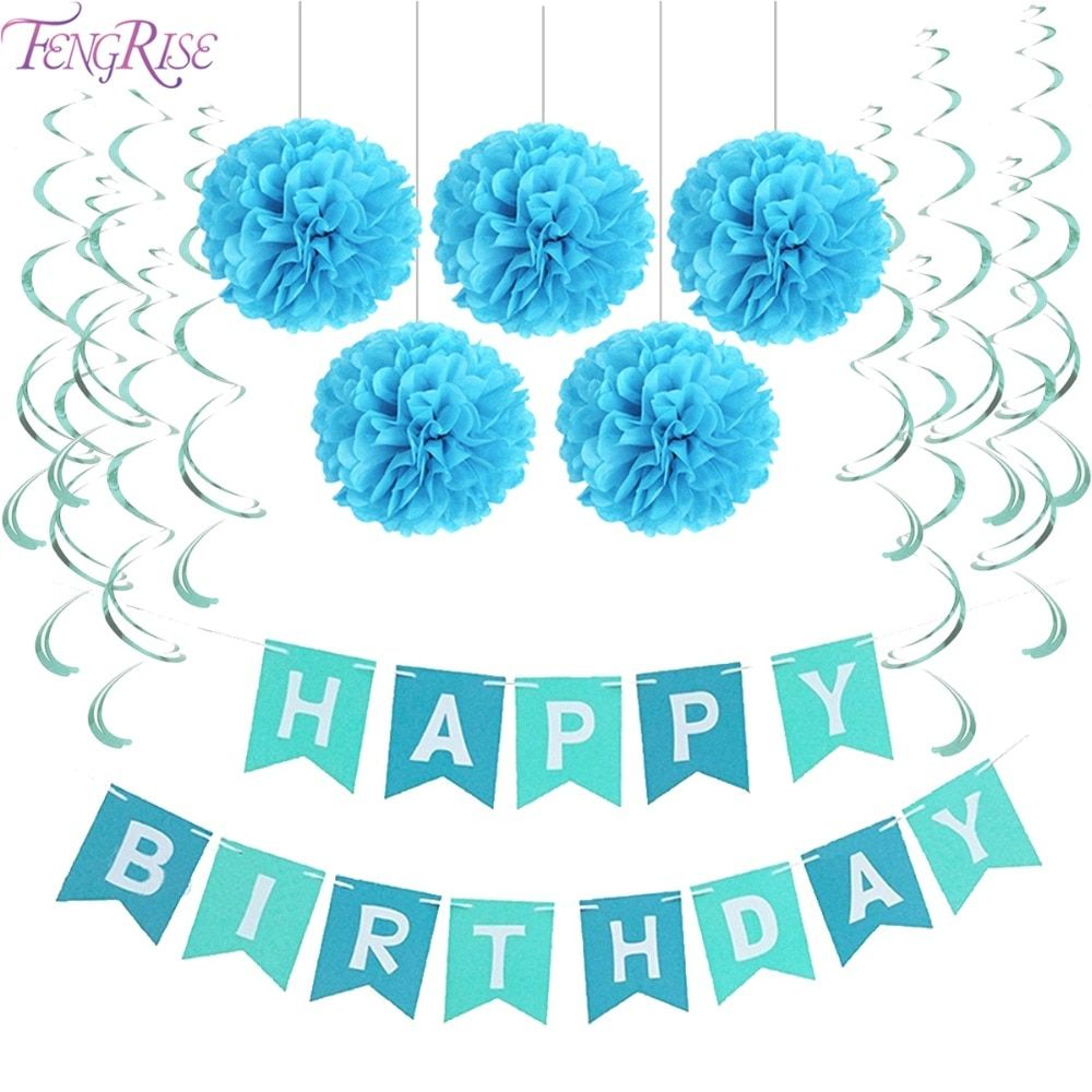 FENGRISE First Birthday Party Paper Decoration Set Happy Birthday Banner Hanging Swirls Pom Poms Boy Girl Party Favors Blue Pink