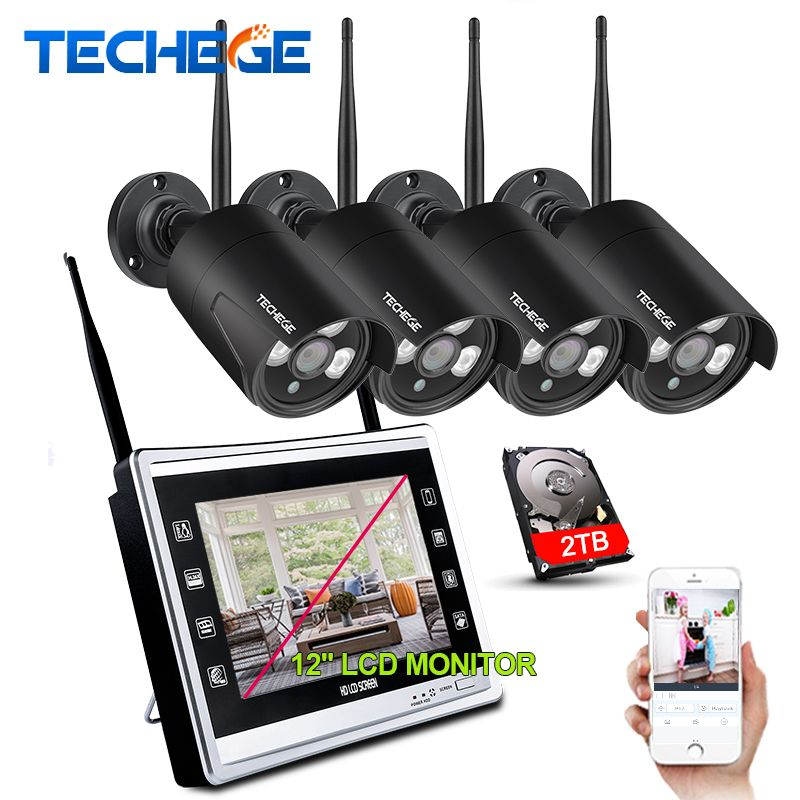 Techege 1080P Wireless NVR Kit 12inch LCD Monitor 2MP Wifi IP Camera 1080P CCTV Camera Home Security System Surveillance Kits