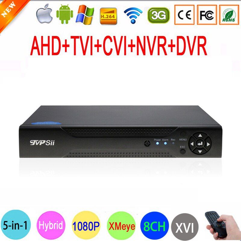 1080P,960P,<font><b>720P</b></font>,960H CCTV Camera 1080N 8 Channel 8CH Hybrid 6 in 1 WIFI XVI NVR TVI CVI AHD DVR Surveillance Video Recorder