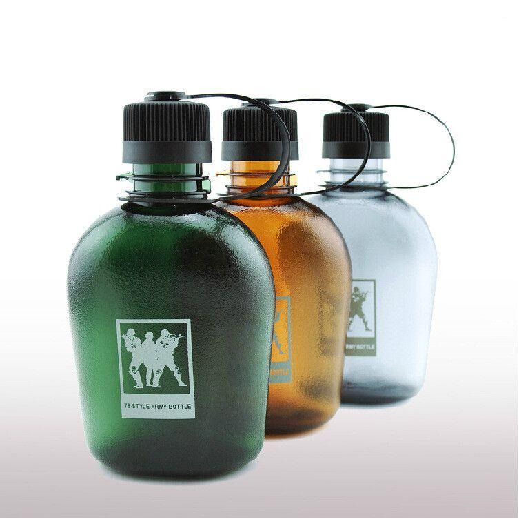 Bouilloire armée En Plein Air Loisirs En Plastique Bouteille D'eau Vasos De Plastico Alimentaire Flacon Bouteille D'eau Potable Sport Gourde En Plastique