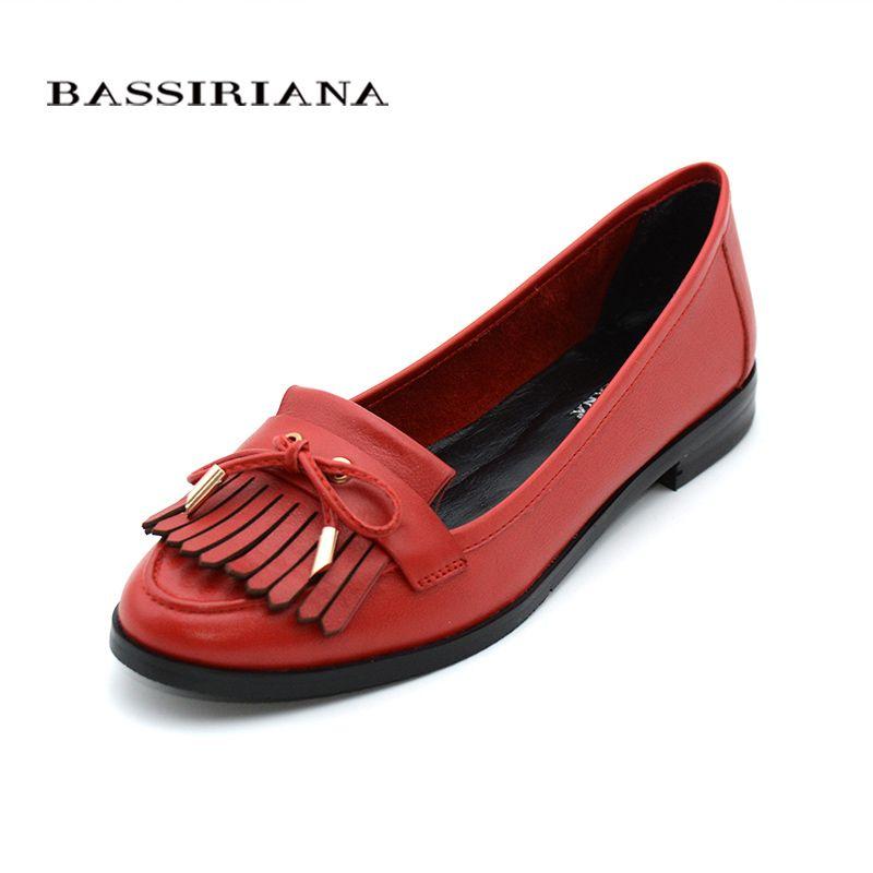 Genuina zapatos de cuero mujer Pisos Primavera Otoño dedo del pie Redondo Slip-On Cómodo Rojo Azul 35-40 Envío gratis BASSIRIANA