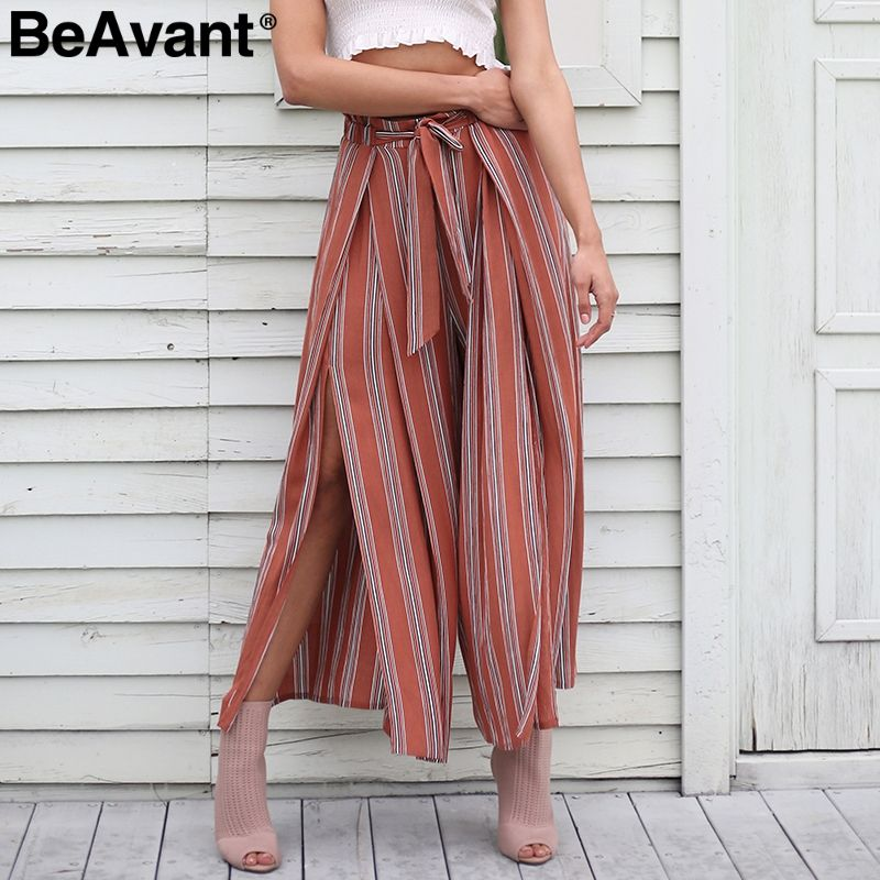 BeAvant Sexy split wide leg <font><b>striped</b></font> pants women Summer 2018 new casual high waist pants Elastic chic beach pants trousers femme