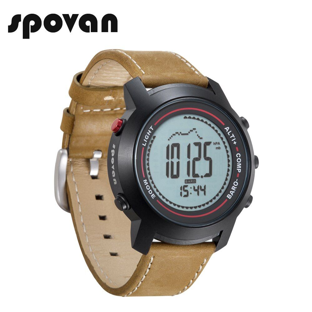 SPOVAN Sport Watches Wristwatch, Men's Watch with Genuine Leather Band, Compass/Pacer/Waterproof/LED Backlight MG01c