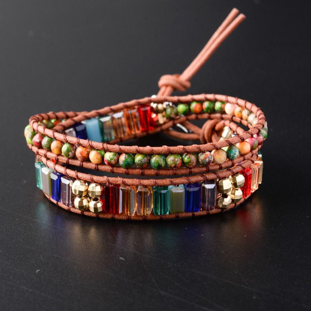 New Chakra Bracelet Fashion Jewelry Natural Stone Bead Handmade Crystal Leather Bracelet Wrap Bracelet HandWork Drop Shipping