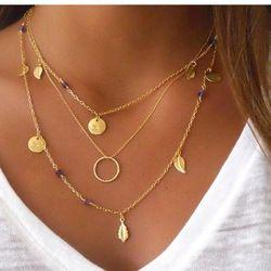 Pameng Nouvelle Couleur Argent chaîne feuilles multi couche collier pendentif pour les femmes Collier femme bijoux de mode 2017 Or Couleur