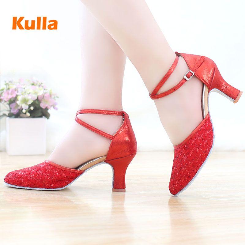 Kulla новый красный аутентичные взрослых Латинский танец обувь национальный стандарт социальной танцевальной обуви мягкое дно туфли на высо...