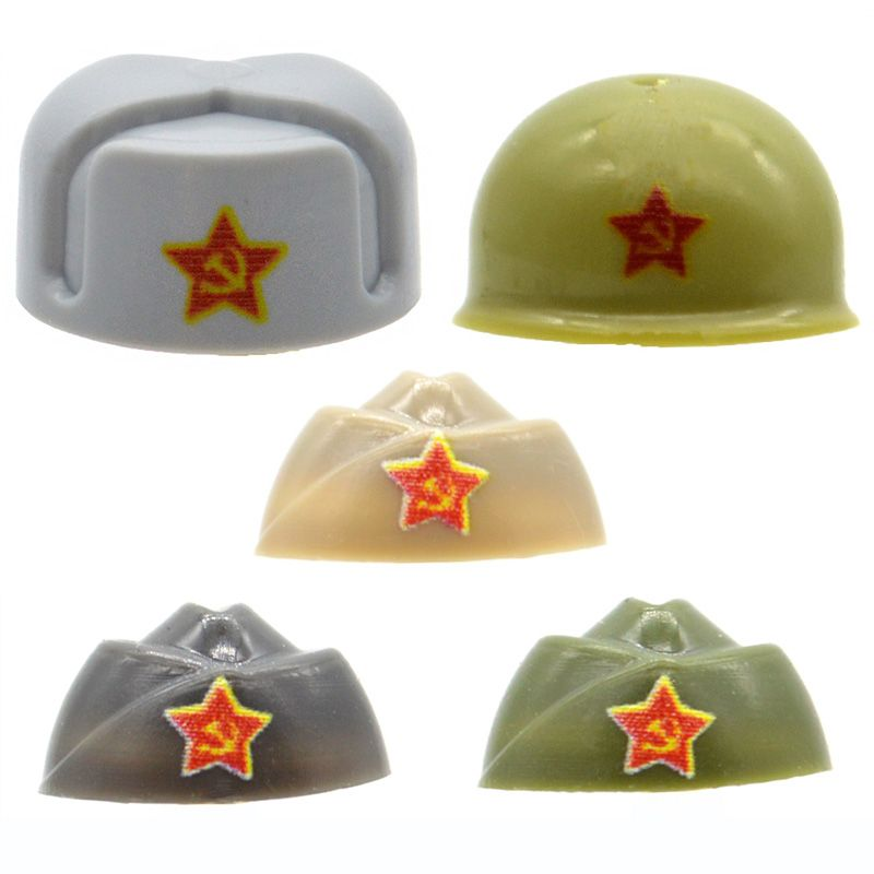 10pcs/lot Ushanka Helmet WW2 Soviet Union Hat Printed Red Army Cap Military MOC Building Blocks Bricks Figures Toys for Children