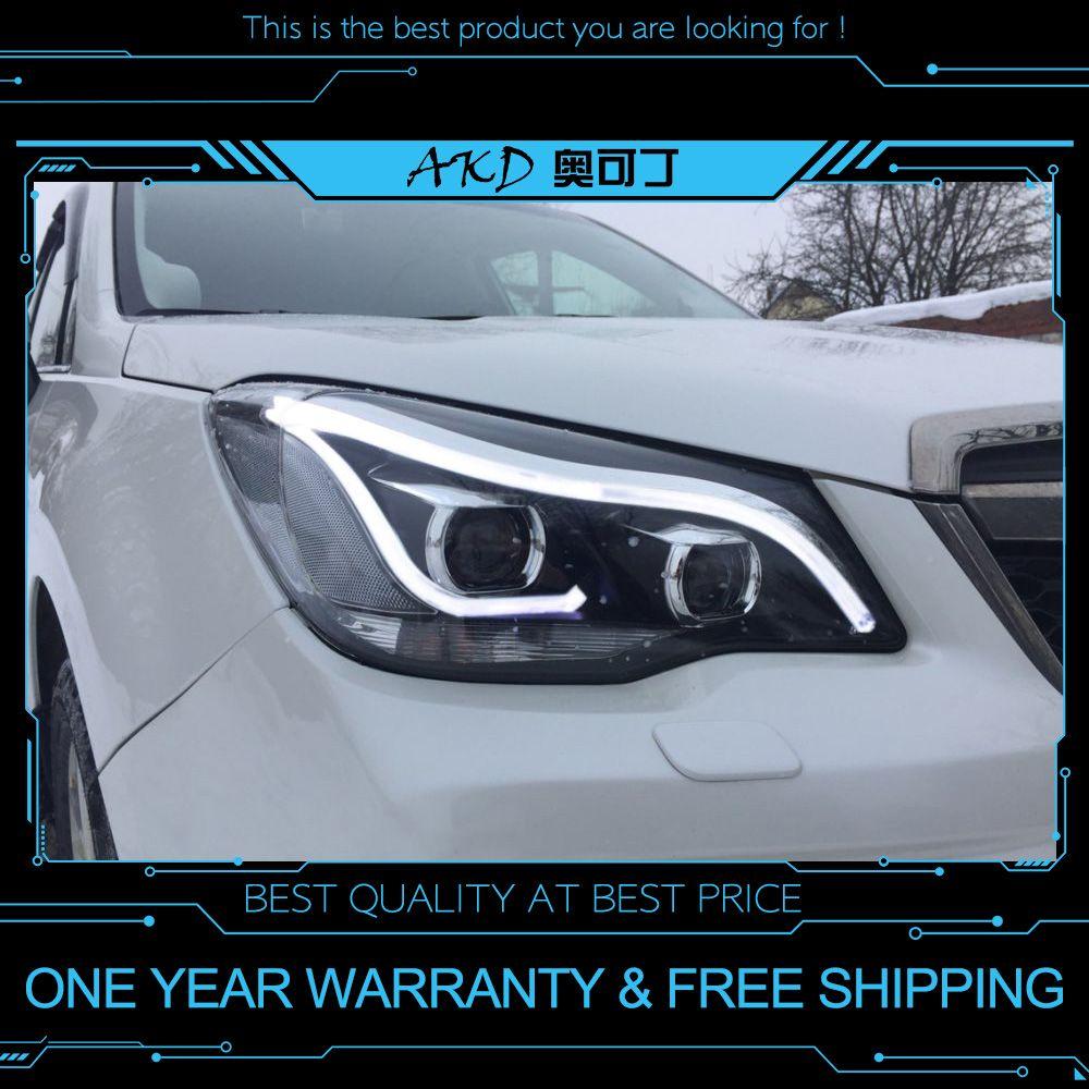 AKD tuning autos Scheinwerfer Für Subaru Forester 2013-2016 Scheinwerfer LED DRL Lauf lichter Bi-Xenon Strahl Nebel lichter engel augen