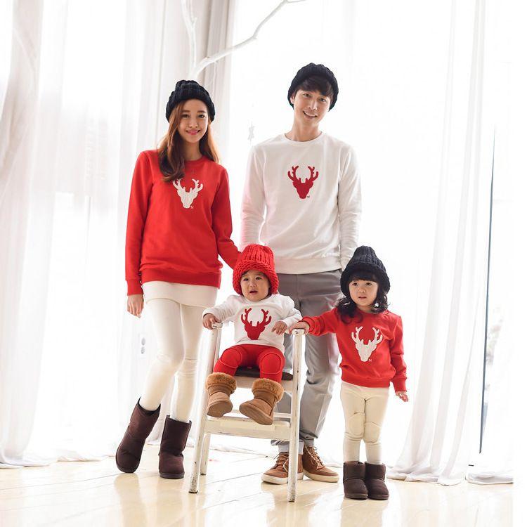 De noël Famille Look Cerf Maman et Moi Vêtements Correspondant À La Famille Vêtements Mère Fille Maman Fils Père Bébé T-shirt rouge blanc
