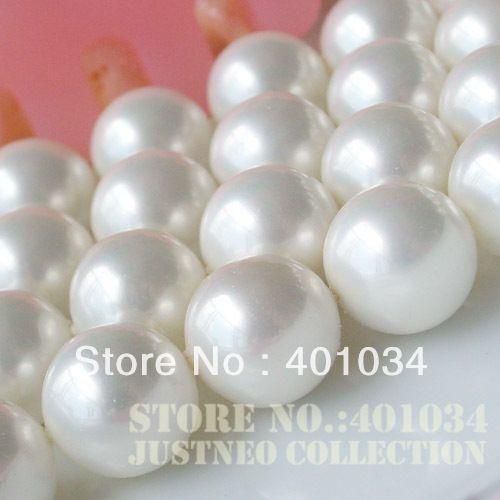 Mar Blanco Conchas perla Cuentas suelta madre-de-perla Strand 16 pulgadas longitud, 8-14mm