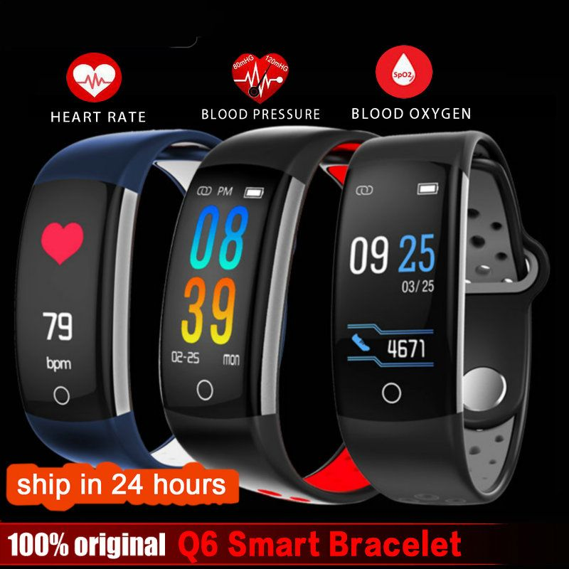 2018 Q6 Fitness Tracker Smart Bracelet HR Fitness Bracelet Sleep Tracker Waterproof IP68 Activity Tracker for Android IOS