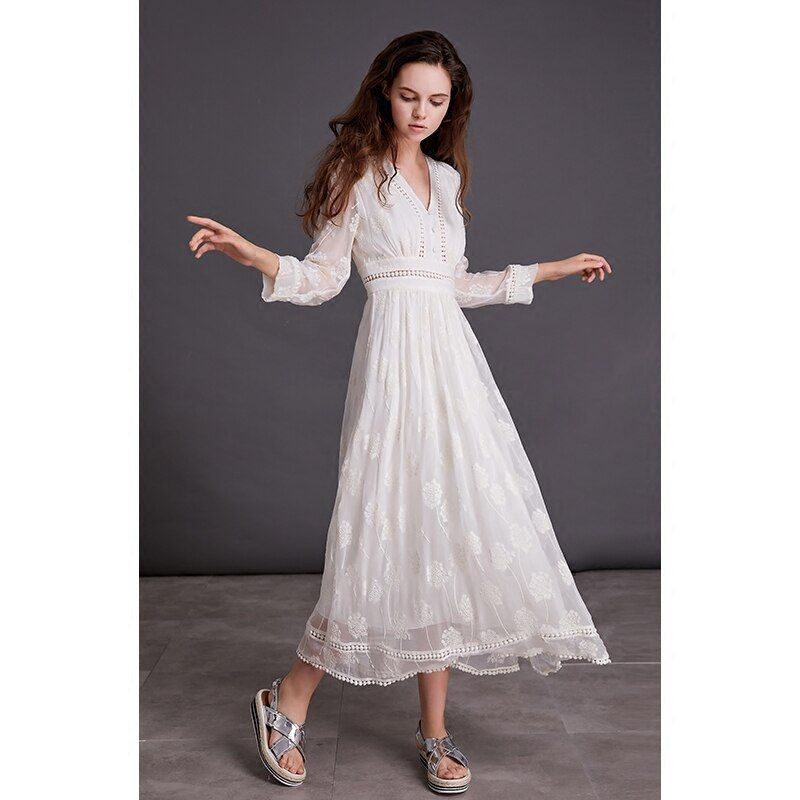 LYNETTE'S CHINOISERIE Spring Autumn Women Loose High Waist White Lace Embroidery Silk Dresses