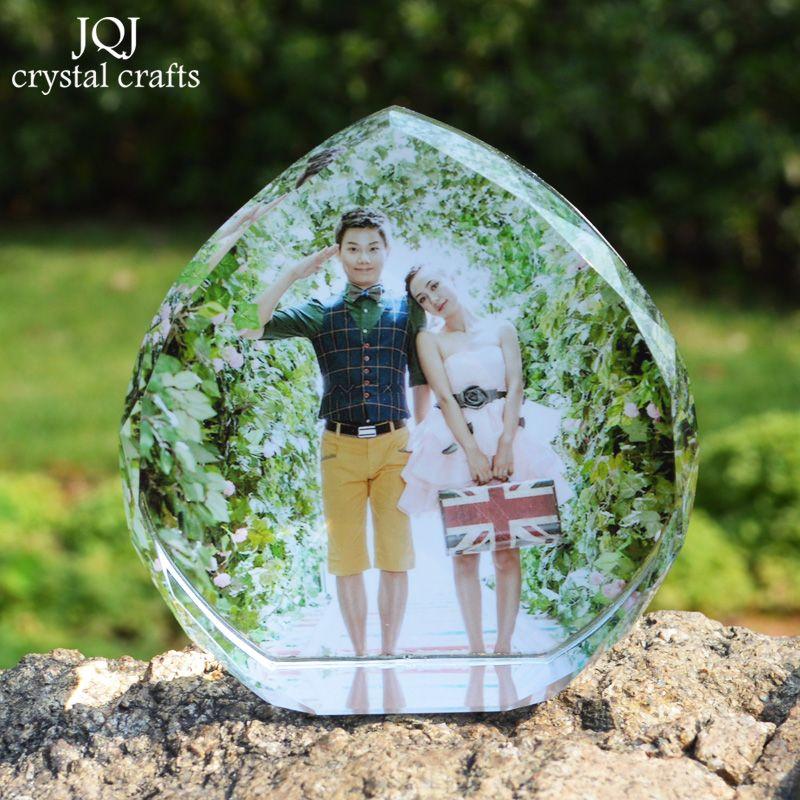 Personnalisé en forme de coeur cristal Photo Album anniversaire Photo cadre Scrapbook pour amis famille amoureux cadeaux décoration de mariage