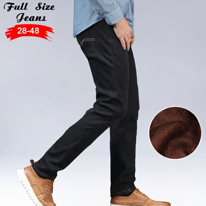 Winter Men'S Warm Fleece Jeans Plus Size Thicken Velvet Boot Cut Jeans 46 48 Brand Classical Casual Denim Jeans 8Xl 6Xl 7Xl Xxs