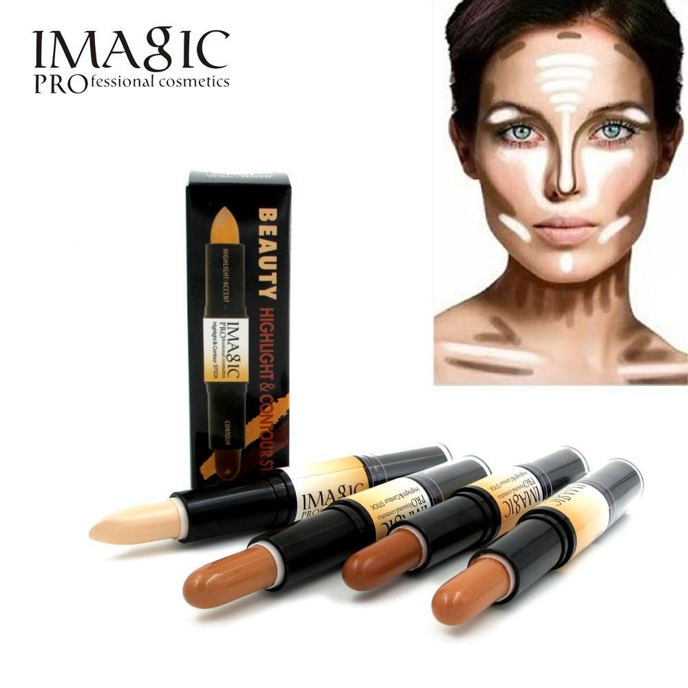 Maquillaje Crema Contorno de Dos extremos 2 In1 Palo Highlighter Bronceador Contorno Crear 3D Cara Corrector de Maquillaje Completo Cubierta Del Defecto