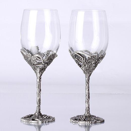 Quality gift fashion vintage crystal wedding wine glass hanap set tin gift wine cooler decoration