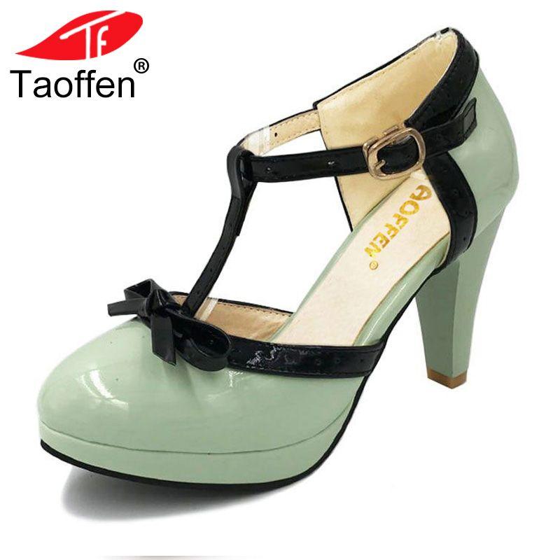 TAOFFEN Size 32-48 Women High Heel Sandals Round Toe Heels Shoes Women's Platform Sandals Black bow Wedding Party Lady Footwears
