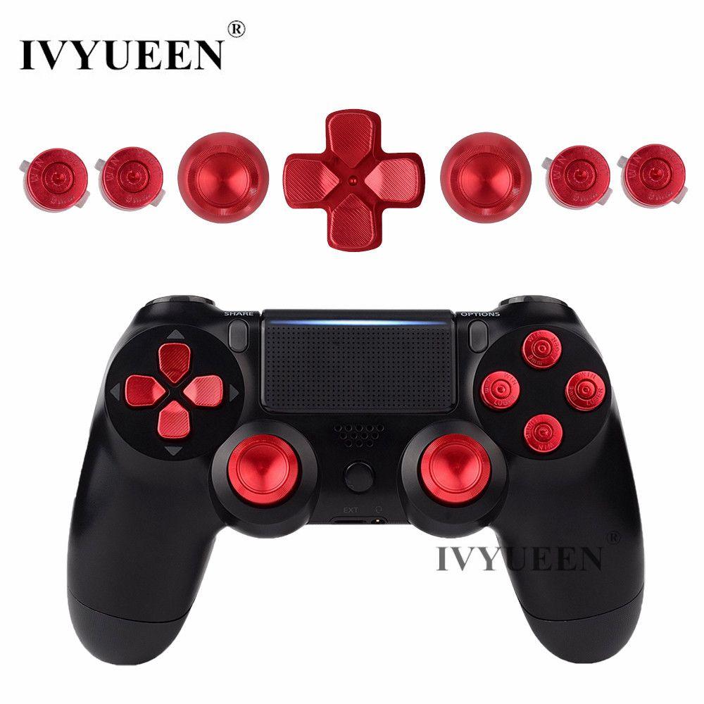 IVYUEEN pour Dualshock 4 PS4 Pro Slim contrôleur rouge métal analogique bâtons aluminium Dpad boutons d'action pour Playstation 4 Gamepad