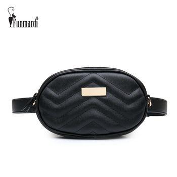 FUNMARDI lujo PU cuero mujeres bolsos de cintura nueva moda cintura Packs marca mujeres bolsas de hombro diseño de moda cadena WLHB1744