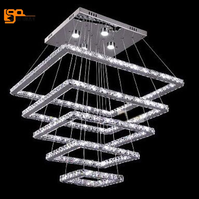 new design large LED crystal chandeliers 5 ring lustres lamp dinning room living room chandelier LED light