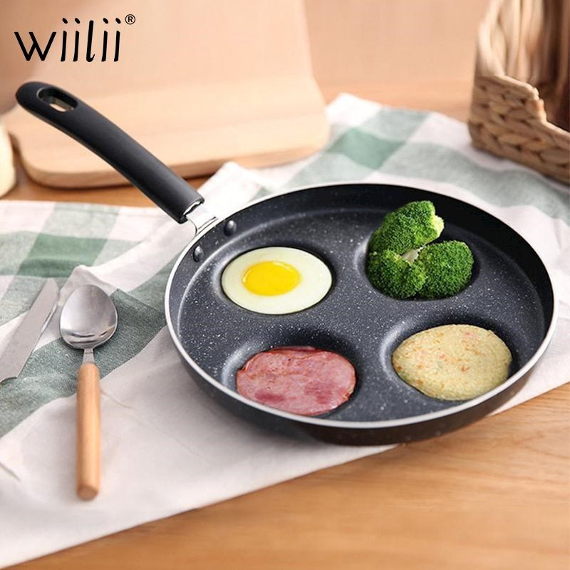 Poêle à omelette à quatre trous pour oeufs jambon PanCake Maker poêles créatives antiadhésives sans huile-fumée petit-déjeuner gril casserole
