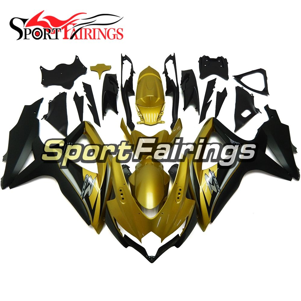 Fairings For Suzuki GSXR 600 750 K8 08 09 10 Year 2008 2009 2010 Injection ABS Motorcycle Fairing Kit Cowlins Gold Black Cowls