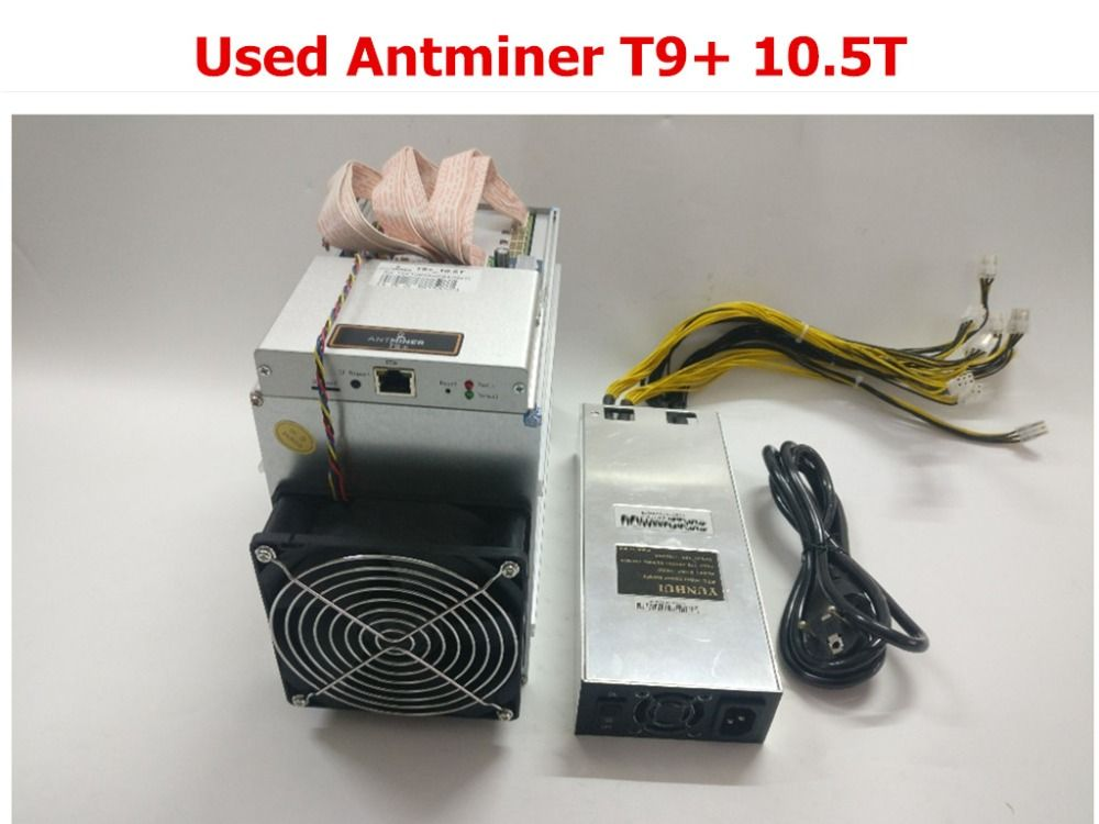 Used BTC Miner AntMiner T9+ 10.5T Bitcoin BCH Miner With PSU Better Than Antminer S9 S9i S9j 13.5T 14T 14.5T WhatsMiner M3