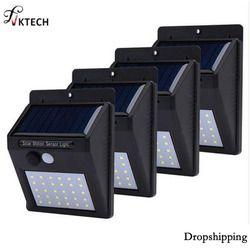 1-4Pcs 20/30 LEDs PIR Motion Sensor Solar Light Waterproof Outdoors Energy Saving Street LED Lamp Yard Path Solar Garden Lights