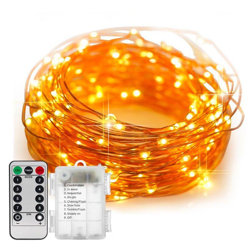 5/10 M Étanche télécommande Fée Lumières led à piles Lumières Décoration 8 Minuterie En Mode Chaîne De Cuivre Fil De Noël