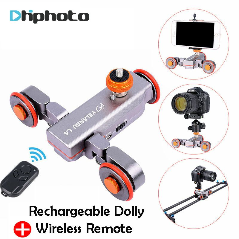 Yelangu DSLR Motorized Electric Autodolly Video Pulley Rolling Skater Slider w Remote Control for iPhone Canon Camera Vlogging