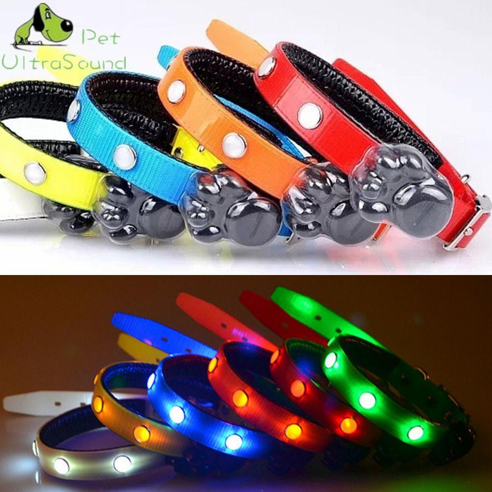 Ультразвуковой собака светодиодный ошейник для кошка Glow воротник привело Товары для домашних животных ТПУ световой Цепочки и ожерелья Gem LED...