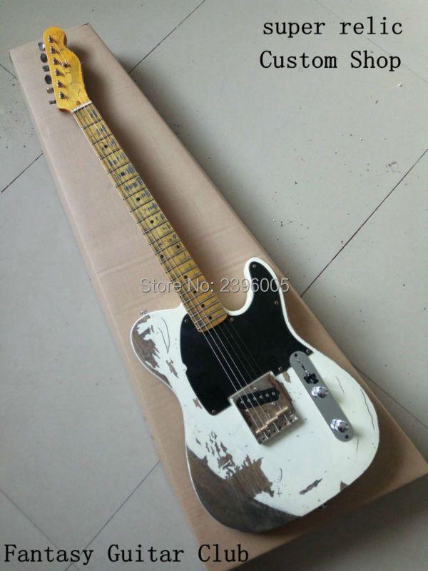 Custom shop, handworks Jim Wurzel unterschrift klassische weiße tele e-gitarre, Jeff Beck Esq e-gitarre, super relic, SRV, Slash